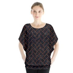 Brick2 Black Marble & Brown Marble (r) Batwing Chiffon Blouse