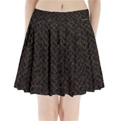 Brick2 Black Marble & Brown Marble (r) Pleated Mini Skirt