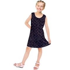 Brick2 Black Marble & Brown Marble (r) Kids  Tunic Dress