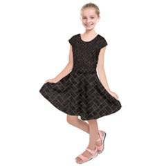 Brick2 Black Marble & Brown Marble (r) Kids  Short Sleeve Dress