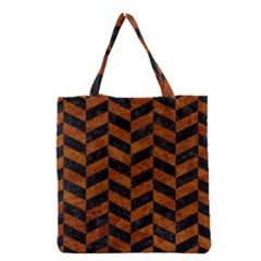 Chevron1 Black Marble & Brown Marble Grocery Tote Bag