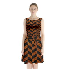 Chevron1 Black Marble & Brown Marble Sleeveless Waist Tie Chiffon Dress