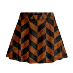 Chevron1 Black Marble & Brown Marble Mini Flare Skirt