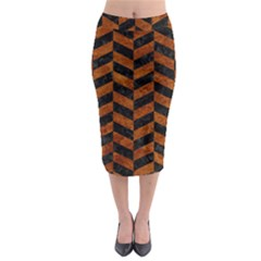 Chevron1 Black Marble & Brown Marble Midi Pencil Skirt