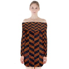 Chevron1 Black Marble & Brown Marble Long Sleeve Off Shoulder Dress