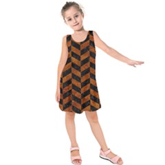 Chevron1 Black Marble & Brown Marble Kids  Sleeveless Dress