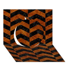 Chevron2 Black Marble & Brown Marble Circle 3d Greeting Card (7x5)