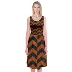 Chevron2 Black Marble & Brown Marble Midi Sleeveless Dress