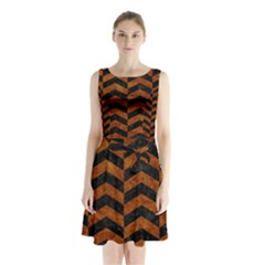 Chevron2 Black Marble & Brown Marble Sleeveless Waist Tie Chiffon Dress