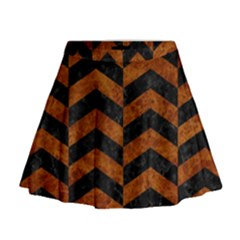 Chevron2 Black Marble & Brown Marble Mini Flare Skirt