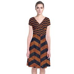Chevron2 Black Marble & Brown Marble Short Sleeve Front Wrap Dress