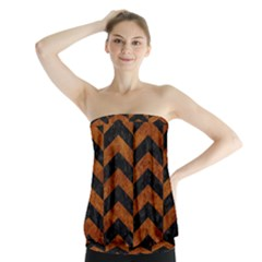 Chevron2 Black Marble & Brown Marble Strapless Top