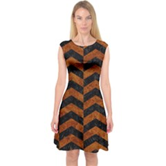 Chevron2 Black Marble & Brown Marble Capsleeve Midi Dress