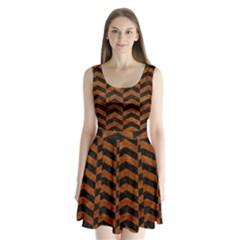 Chevron2 Black Marble & Brown Marble Split Back Mini Dress