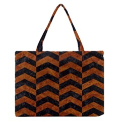 Chevron2 Black Marble & Brown Marble Medium Zipper Tote Bag