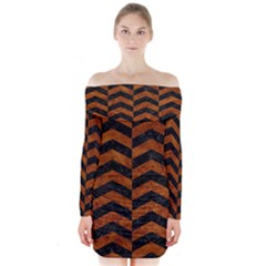 Chevron2 Black Marble & Brown Marble Long Sleeve Off Shoulder Dress