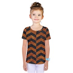 Chevron2 Black Marble & Brown Marble Kids  One Piece Tee