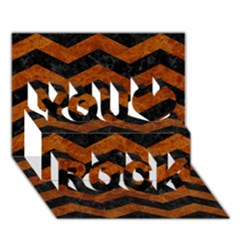 Chevron3 Black Marble & Brown Marble You Rock 3d Greeting Card (7x5)