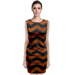 Chevron3 Black Marble & Brown Marble Classic Sleeveless Midi Dress