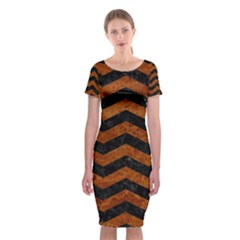 Chevron3 Black Marble & Brown Marble Classic Short Sleeve Midi Dress
