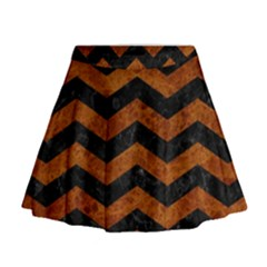 Chevron3 Black Marble & Brown Marble Mini Flare Skirt