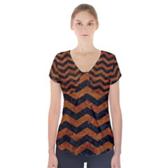 Chevron3 Black Marble & Brown Marble Short Sleeve Front Detail Top
