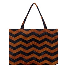 Chevron3 Black Marble & Brown Marble Medium Tote Bag