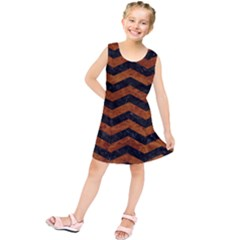 Chevron3 Black Marble & Brown Marble Kids  Tunic Dress