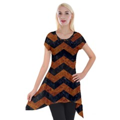 Chevron3 Black Marble & Brown Marble Short Sleeve Side Drop Tunic
