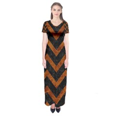 Chevron9 Black Marble & Brown Marble Short Sleeve Maxi Dress