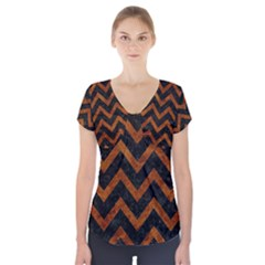 Chevron9 Black Marble & Brown Marble Short Sleeve Front Detail Top