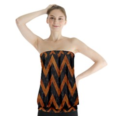 Chevron9 Black Marble & Brown Marble Strapless Top