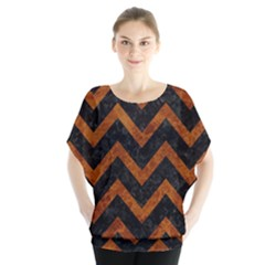 Chevron9 Black Marble & Brown Marble Batwing Chiffon Blouse
