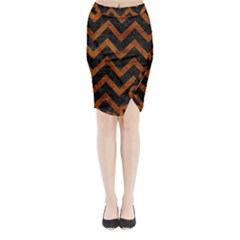 Chevron9 Black Marble & Brown Marble Midi Wrap Pencil Skirt