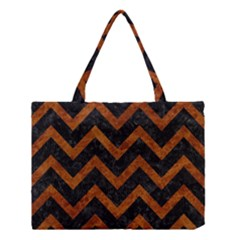 Chevron9 Black Marble & Brown Marble Medium Tote Bag
