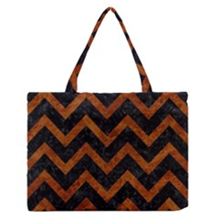 Chevron9 Black Marble & Brown Marble Medium Zipper Tote Bag