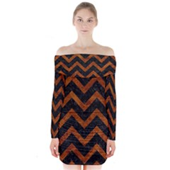 Chevron9 Black Marble & Brown Marble Long Sleeve Off Shoulder Dress