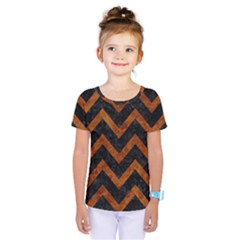 Chevron9 Black Marble & Brown Marble Kids  One Piece Tee