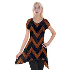 Chevron9 Black Marble & Brown Marble Short Sleeve Side Drop Tunic
