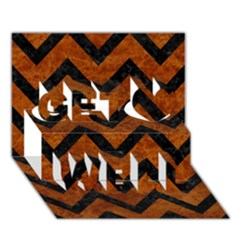 Chevron9 Black Marble & Brown Marble (r) Get Well 3d Greeting Card (7x5)
