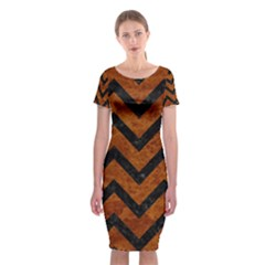 Chevron9 Black Marble & Brown Marble (r) Classic Short Sleeve Midi Dress