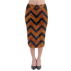 Chevron9 Black Marble & Brown Marble (r) Midi Pencil Skirt