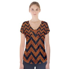 Chevron9 Black Marble & Brown Marble (r) Short Sleeve Front Detail Top