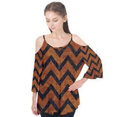 Chevron9 Black Marble & Brown Marble (r) Flutter Sleeve Tee