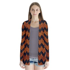 Chevron9 Black Marble & Brown Marble (r) Drape Collar Cardigan