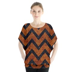 Chevron9 Black Marble & Brown Marble (r) Batwing Chiffon Blouse