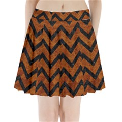 Chevron9 Black Marble & Brown Marble (r) Pleated Mini Skirt