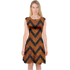 Chevron9 Black Marble & Brown Marble (r) Capsleeve Midi Dress