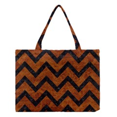 Chevron9 Black Marble & Brown Marble (r) Medium Tote Bag