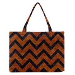 Chevron9 Black Marble & Brown Marble (r) Medium Zipper Tote Bag